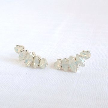 White opal crystal earrings 7