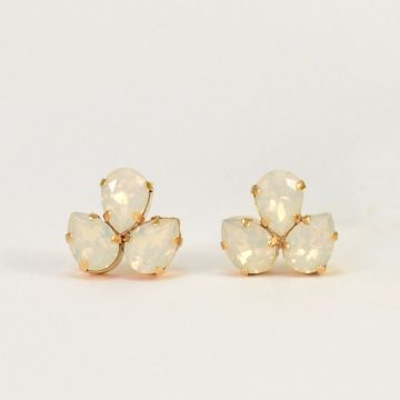 White opal crystal studs 2