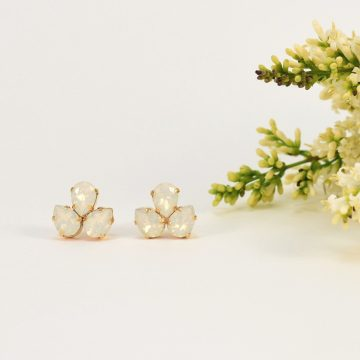 White opal crystal studs 4