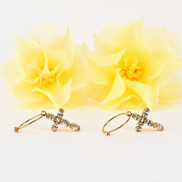 Cross earrings with 14kt gold filled hoops and clear crystals