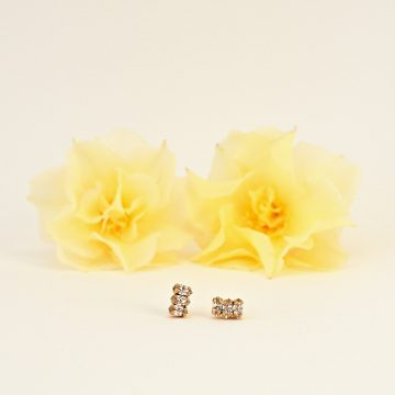 Tiny stud earrings with marquise crystal clear stones