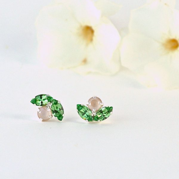 Dainty green stud earrings 1
