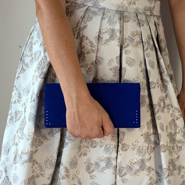 Blue velvet clutch bag 2