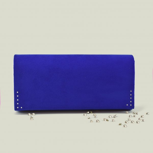 Blue velvet clutch bag 1