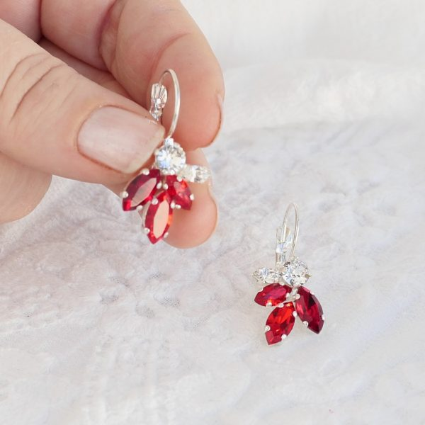 Red crystal earrings 1