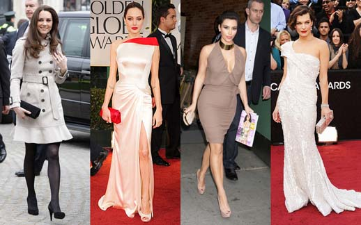 Different stars wearing clutch bags