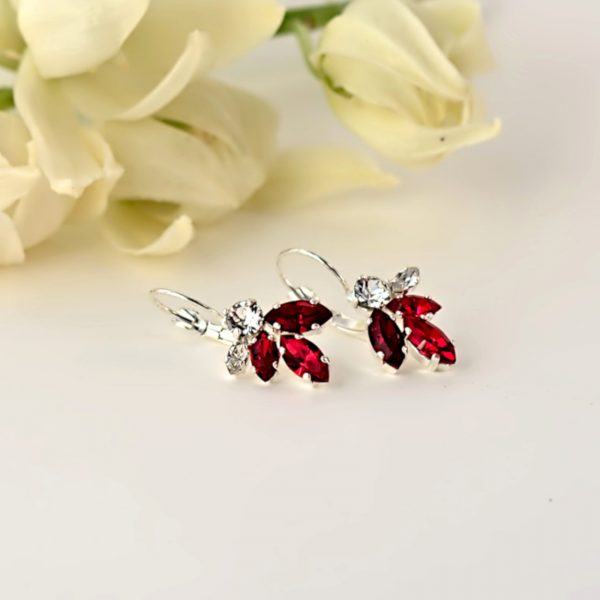 Red crystal earrings1