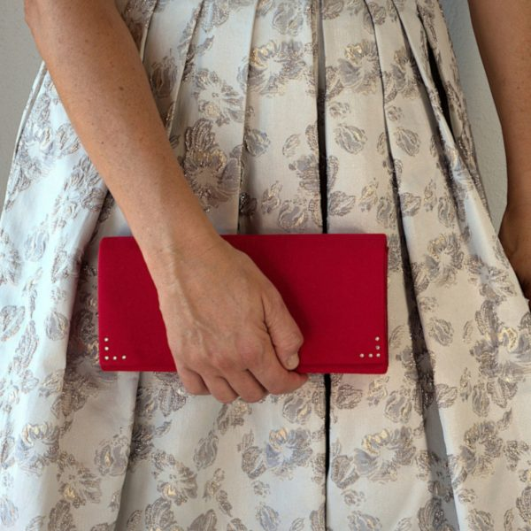 Red velvet clutch bag 1