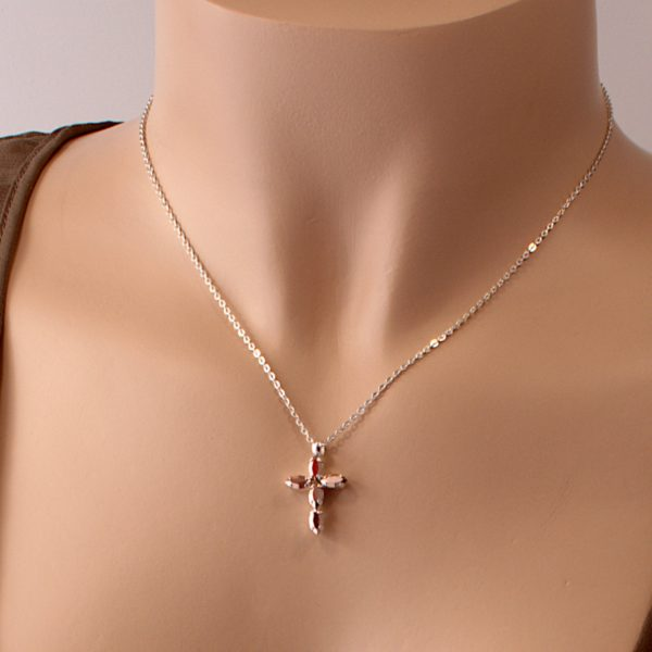 Rose gold cross necklace 2