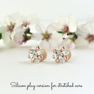 Rose gold and clear crystal earrings2
