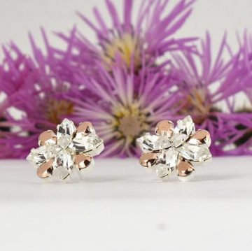 Rose gold and clear crystal earrings 5
