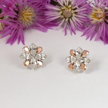 Rose gold and clear crystal earrings 4